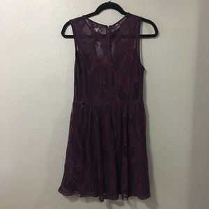 Express Dresses - Express Lace Skater dress size Medium dark berry f4570889b